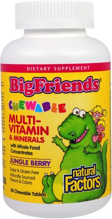 Big Friends, Chewable Multi-Vitamin & Minerals, Jungle Berry, 60 Chewable Tablets by Natural Factors, 維生素,多種維生素,兒童多種維生素,補品,礦物質 HK 香港
