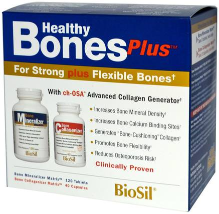 BioSil, Healthy Bones Plus, Two-Part Program by Natural Factors, 健康,骨骼,骨質疏鬆症,補品,礦物質,biosil HK 香港