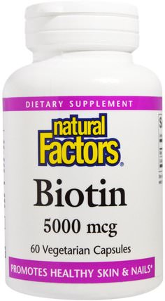 Biotin, 5000 mcg, 60 Veggie Caps by Natural Factors, 維生素,維生素B,生物素 HK 香港