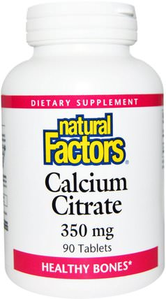 Calcium Citrate, 350 mg, 90 Tablets by Natural Factors, 補品,礦物質,檸檬酸鈣 HK 香港