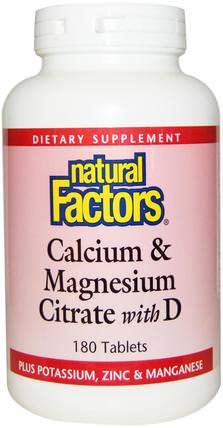 Calcium & Magnesium Citrate, With D, 180 Tablets by Natural Factors, 補品,礦物質,檸檬酸鈣 HK 香港