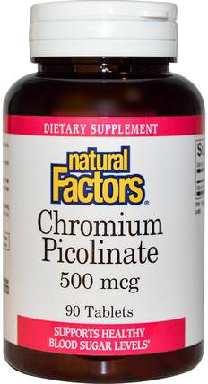 Chromium Picolinate, 500 mcg, 90 Tablets by Natural Factors, 補充劑,礦物質,吡啶甲酸鉻 HK 香港