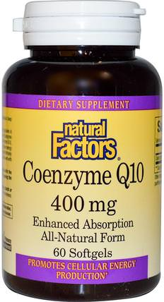 Coenzyme Q10, 400 mg, 60 Softgels by Natural Factors, 補充劑,輔酶q10,coq10 400毫克 HK 香港