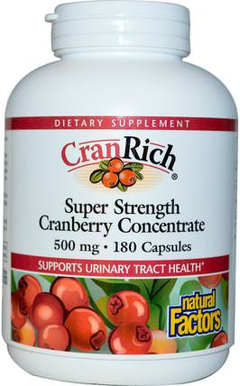 CranRich, Super Strength, Cranberry Concentrate, 500 mg, 180 Capsules by Natural Factors, 草藥,蔓越莓 HK 香港