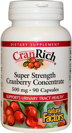 CranRich, Super Strength, Cranberry Concentrate, 500 mg, 90 Capsules by Natural Factors, 草藥,蔓越莓 HK 香港