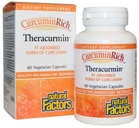 CurcuminRich, Theracurmin, 60 Veggie Caps by Natural Factors, 補充劑,抗氧化劑,薑黃素 HK 香港