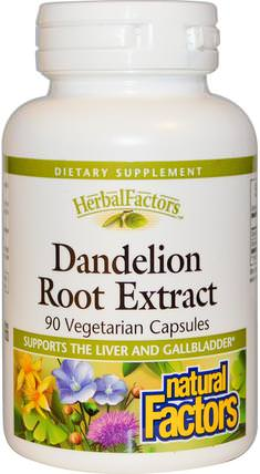 Dandelion Root Extract, 90 Veggie Caps by Natural Factors, 草藥,蒲公英根 HK 香港