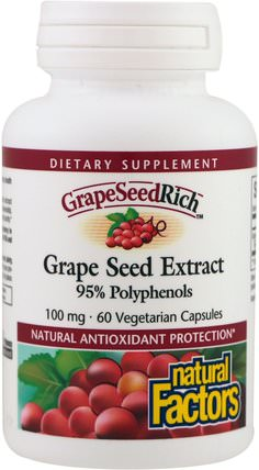 Grape Seed Extract, 95% Polyphenols, 100 mg, 60 Vetegarian Capsules by Natural Factors, 補充劑,抗氧化劑,葡萄籽提取物 HK 香港