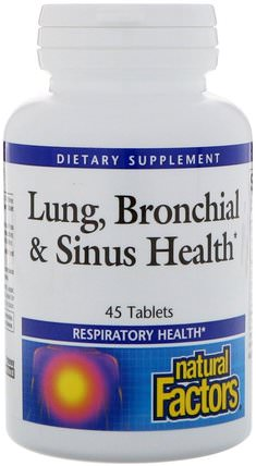 Lung, Bronchial & Sinus Health, 45 Tablets by Natural Factors, 健康,肺和支氣管,哮喘 HK 香港