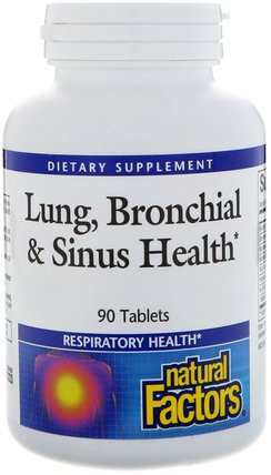Lung, Bronchial & Sinus Health, 90 Tablets by Natural Factors, 健康,肺和支氣管,哮喘 HK 香港