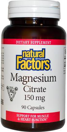 Magnesium Citrate, 150 mg, 90 Capsules by Natural Factors, 補充劑,礦物質,檸檬酸鎂 HK 香港