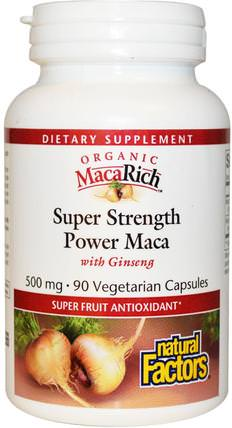 Organic MacaRich, Super Strength Power Maca, with Ginseng, 500 mg, 90 Veggie Caps by Natural Factors, 健康,男人,瑪卡,補品,adaptogen HK 香港