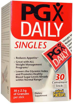 PGX Daily, Singles, Unflavored Granules, 30 Sticks, (2.5 g) Each by Natural Factors, 減肥,飲食,補品,葡甘露聚醣(魔芋根),pgx HK 香港