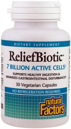 ReliefBiotic, 7 Billion Active Cells, 30 Vegetarian Capsules by Natural Factors, 補充劑,益生菌 HK 香港