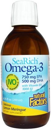 SeaRich Omega-3, 750 mg EPA/500 mg DHA, with Vitamin D3, Lemon Meringue, 6.76 fl oz (200 ml) by Natural Factors, 補充劑,efa omega 3 6 9(epa dha),魚油液體 HK 香港