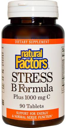 Stress B Formula, Plus 1000 mg C, 90 Tablets by Natural Factors, 維生素,維生素b,維生素b複合物,b抗應激 HK 香港