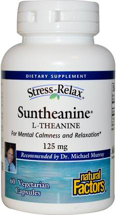 Stress-Relax, Suntheanine, L-Theanine, 125 mg, 60 Vegetarian Capsules by Natural Factors, 補充劑,茶氨酸,健康,焦慮 HK 香港