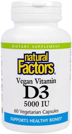 Natural Factors, Vegan Vitamin D3, 5000 IU, 60 Veggie Caps 維生素,維生素D3,骨骼,骨質疏鬆症