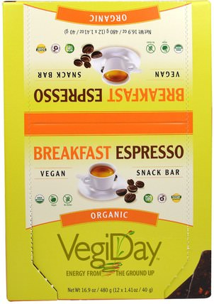 Natural Factors, VegiDay, Organic Snack Bar, Breakfast Espresso, 12 Bars, 1.41 oz (40 g) Each 運動,蛋白質棒