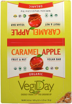 VegiDay, Organic Vegan Bar, Caramel Apple, 12 Bars, 1.23 oz (35 g) Each by Natural Factors, 運動,蛋白質棒 HK 香港