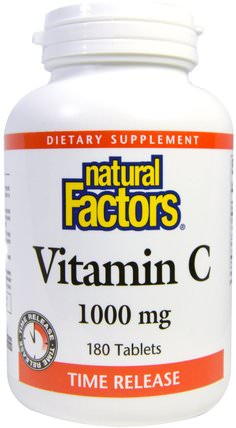 Vitamin C, Time Release, 1000 mg, 180 Tablets by Natural Factors, 維生素,維生素c,維生素c釋放時間 HK 香港