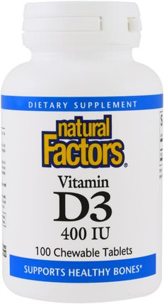 Vitamin D3, Strawberry Flavor, 400 IU, 100 Chewable Tablets by Natural Factors, 維生素,維生素D3,兒童健康,兒童補品 HK 香港