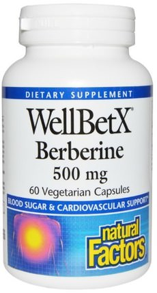 WellBetX Berberine, 500 mg, 60 Veggie Caps by Natural Factors, 健康,血糖,草藥,小蘗 - 小蘗鹼 HK 香港