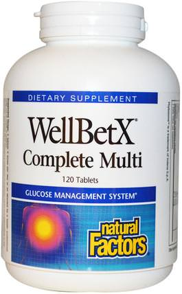 WellBetX Complete Multi, 120 Tablets by Natural Factors, 健康,血糖,維生素,多種維生素 HK 香港