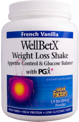 WellBetX, Weight Loss Shake, French Vanilla, 1.9 lbs (854 g) by Natural Factors, 健康,血糖,補品,纖維,pgx HK 香港