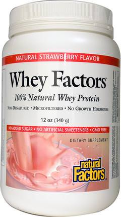 Whey Factors, 100% Natural Whey Protein, Natural Strawberry Flavor, 12 oz (340 g) by Natural Factors, 補充劑,乳清蛋白 HK 香港