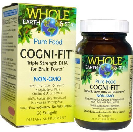 Whole Earth & Sea, Cogni-Fit, 60 Softgels by Natural Factors, 補充劑,efa omega 3 6 9(epa dha),dha,epa HK 香港