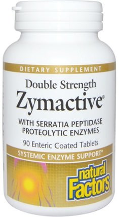 Zymactive, Double Strength, 90 Enteric Coated Tablets by Natural Factors, 補充劑,酶,沙雷胃蛋白酶 HK 香港