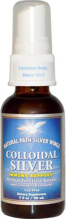 Colloidal Silver, Herbal Tincture Spray, 150 PPM, 1 fl oz (30 ml) by Natural Path Silver Wings, 補品,礦物質,膠體銀 HK 香港