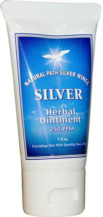 Silver Herbal Ointment, 250 PPM, 1.5 oz by Natural Path Silver Wings, 補品,膠體銀,皮膚 HK 香港