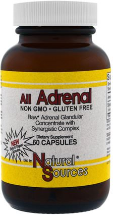 All Adrenal, 60 Capsules by Natural Sources, 補充劑,腎上腺,牛產品 HK 香港