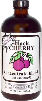 Black Cherry Concentrate Blend (Unsweetened), 16 fl oz (480 ml) by Natural Sources, 食品,咖啡茶和飲料,果汁,補品,黑櫻桃汁 HK 香港