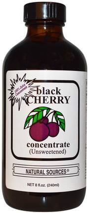 Black Cherry Concentrate, (Unsweetened), 8 fl oz (240 ml) by Natural Sources, 食品,咖啡茶和飲料,果汁,補品,黑櫻桃汁 HK 香港