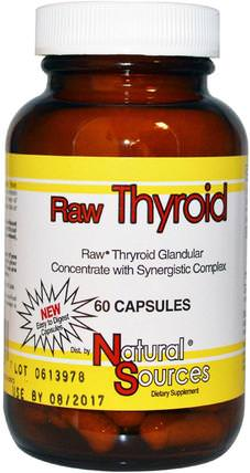 Raw Thyroid, 60 Capsules by Natural Sources, 補品,牛產品,健康,甲狀腺 HK 香港