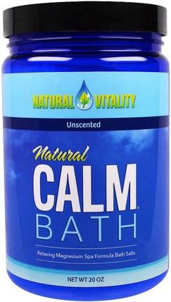 Natural Vitality, Natural Calm Bath, Unscented, 20 oz 洗澡,美容,浴鹽