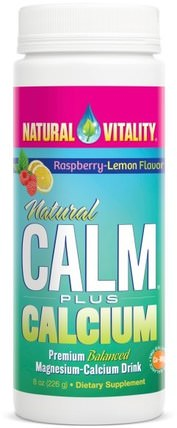 Natural Calm Plus Calcium, Raspberry-Lemon Flavor, 8 oz (226 g) by Natural Vitality, 補充劑,礦物質,鈣和鎂 HK 香港