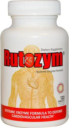 Rutozym, Systemic Enzyme Formula, 120 Enteric Coated Tablets by Naturally Vitamins, 補充劑,納豆激酶,健康,血壓 HK 香港