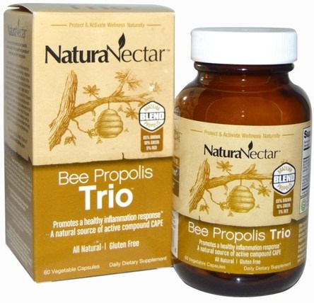 Bee Propolis Trio, 60 Veggie Caps by NaturaNectar, 補充劑,蜂產品,蜂膠 HK 香港