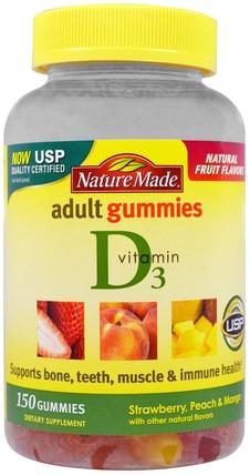 Nature Made, Adult Gummies, Vitamin D3, Strawberry, Peach & Mango, 150 Gummies 維生素,維生素D3,維生素D gummies