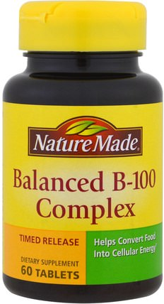 Balanced B-100 Complex, 60 Tablets by Nature Made, 維生素,維生素b複合物,維生素b複合物100,維生素b HK 香港