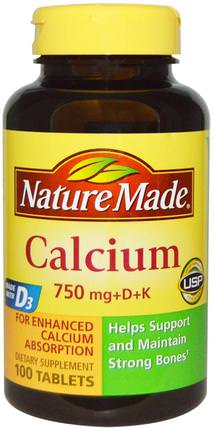Calcium 750 mg +D + K, 100 Tablets by Nature Made, 補品,礦物質,鈣 HK 香港