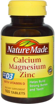 Calcium Magnesium Zinc, 100 Tablets by Nature Made, 補品,礦物質,鈣 HK 香港