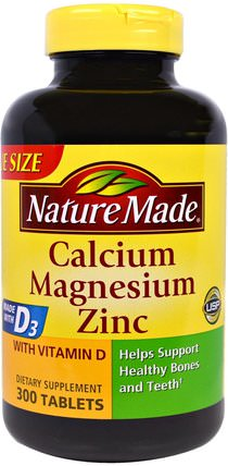 Calcium Magnesium Zinc with D3, 300 Tablets by Nature Made, 補品,礦物質,鈣 HK 香港