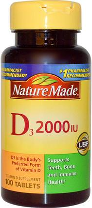 D3, Vitamin D Supplement, 2000 IU, 100 Tablets by Nature Made, 維生素,維生素D3 HK 香港