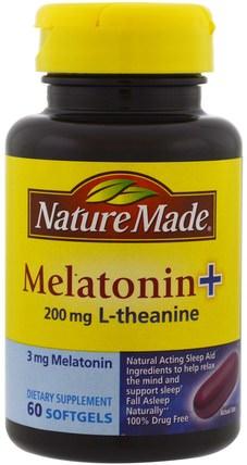 Melatonin + L-Theanine, 200 mg, 60 Softgels by Nature Made, 補充劑,褪黑激素,睡眠 HK 香港