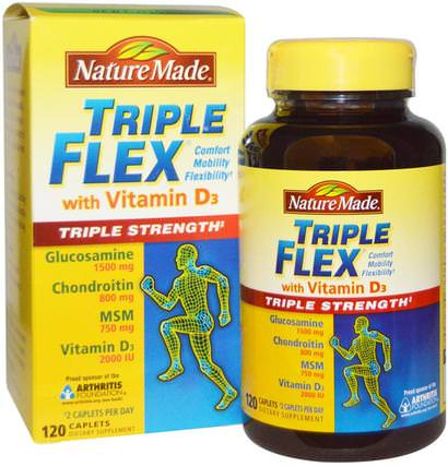 Triple Flex Triple Strength with Vitamin D3, 120 Caplets by Nature Made, 補充劑,氨基葡萄糖,健康,骨骼,骨質疏鬆症,關節健康 HK 香港